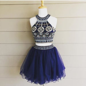 Image of Short Two Piece Homecoming Dress,Embellished Navy Dress By Blush,Metallic Beading Cocktail Dress