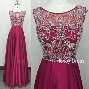 Image of Burgundy Cap Sleeve Prom Dresses,  Chiffon Beaded Prom Gown With Sweetheart Bodice