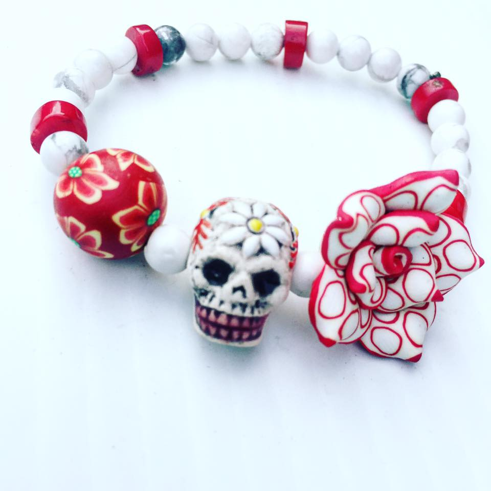 Image of Dia De Los Muertos ~ Howlite Hand Painted Skull with Red Coral