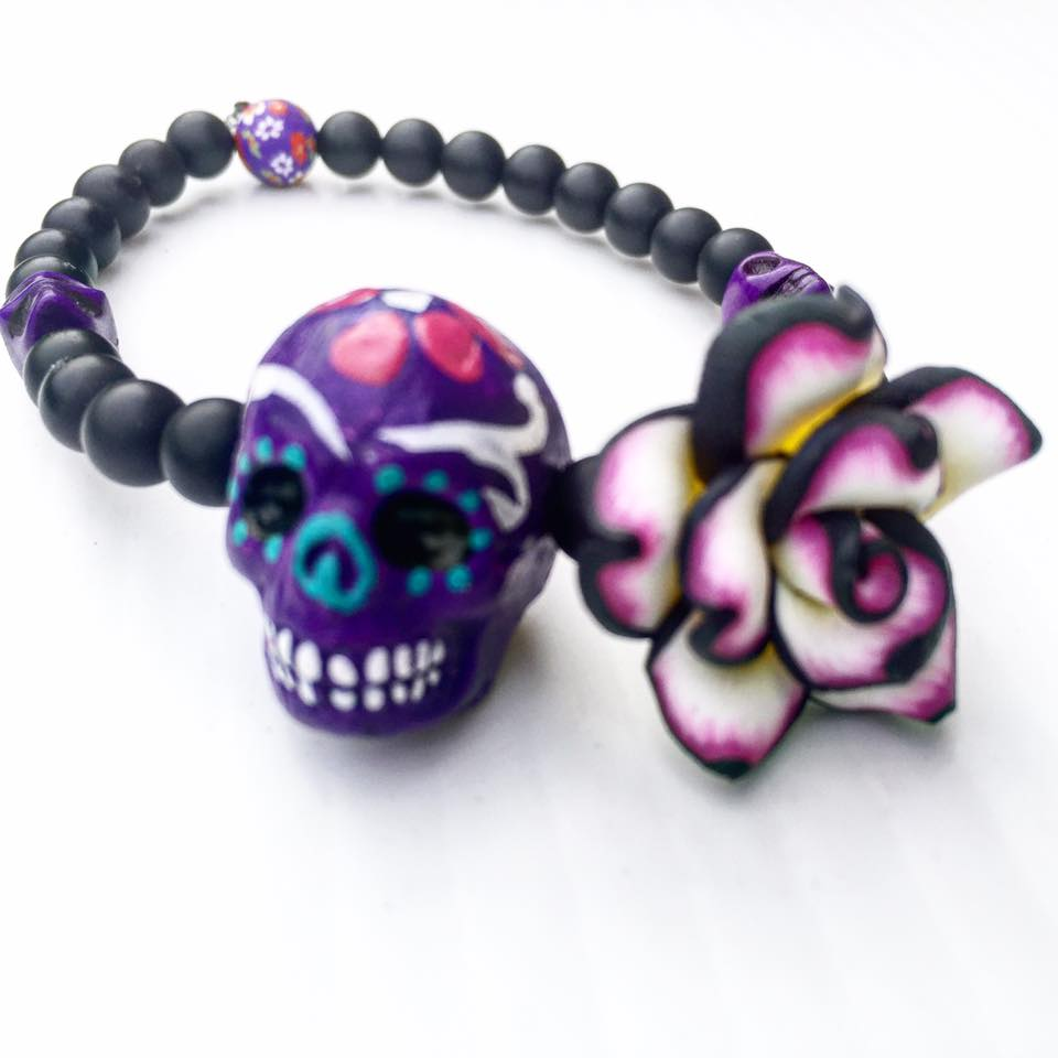 Image of Dia de los Muertos Hand Painted Howlite Skull and Onyx
