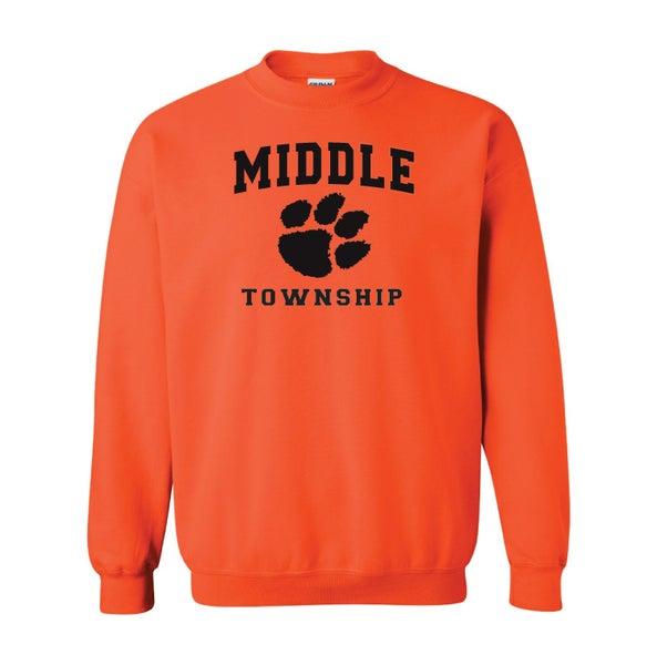 Image of Crew Neck Sweatshirt w/ Athletic Logo (Orange)