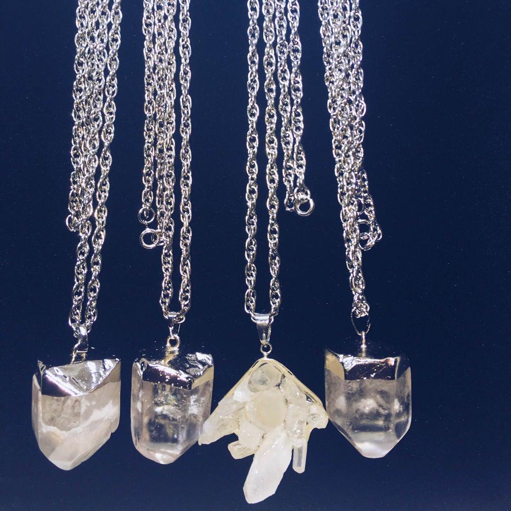 Image of Good Vibe Enhancer - Crystal Quartz Pendant Necklace (Silver)