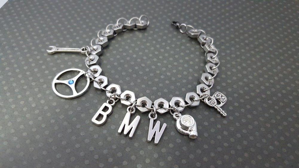 Image of Hex Nut Make/Model Charm Bracelet