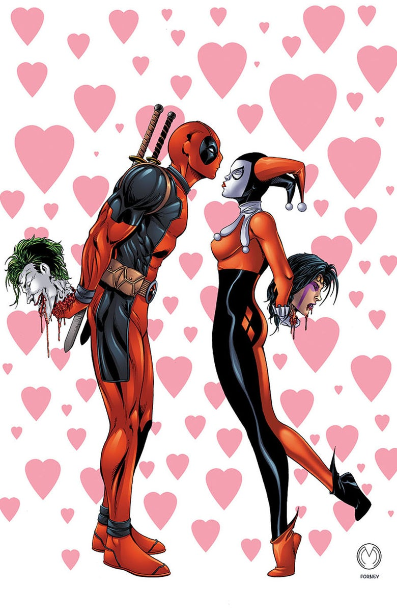 "Image of Deadpool & Harley Quinn ""Crazy In Love"" Classic Harley Print"