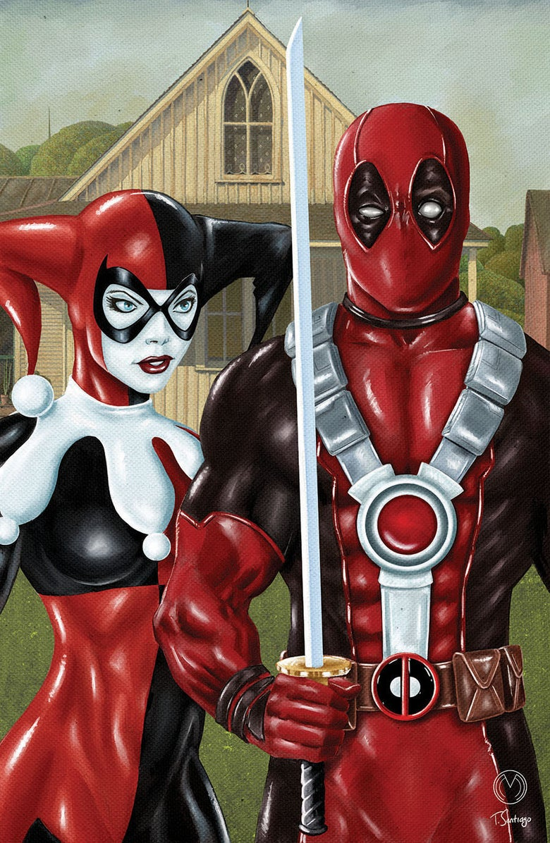 "Image of Deadpool & Harley Quinn ""American Gothic"" Print"