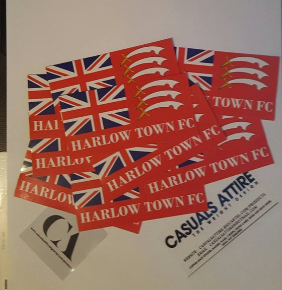 Image of Harlow Town FC Essex 10x5cm 25 pack of Ultras Football Stickers Brand New.