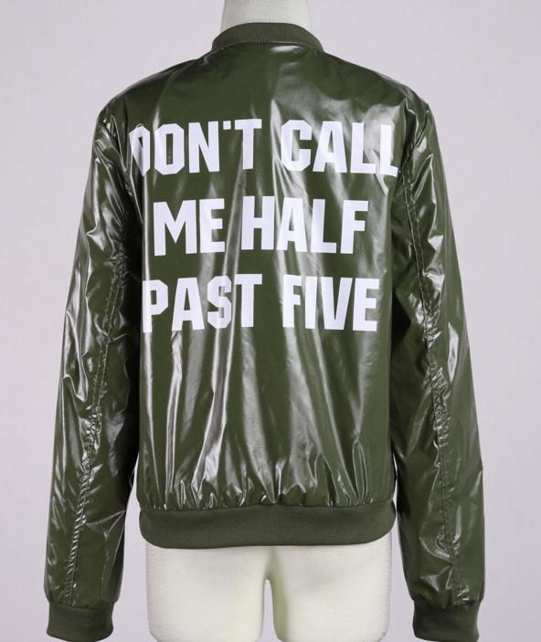 Image of Letters printed leisure sports baseball uniform jacket coat female