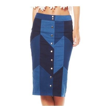 Image of Patchwork denim skirt