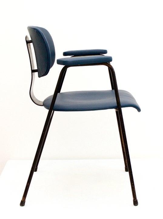 Image of Blue Leather Desk Chair by Van Der Meeren