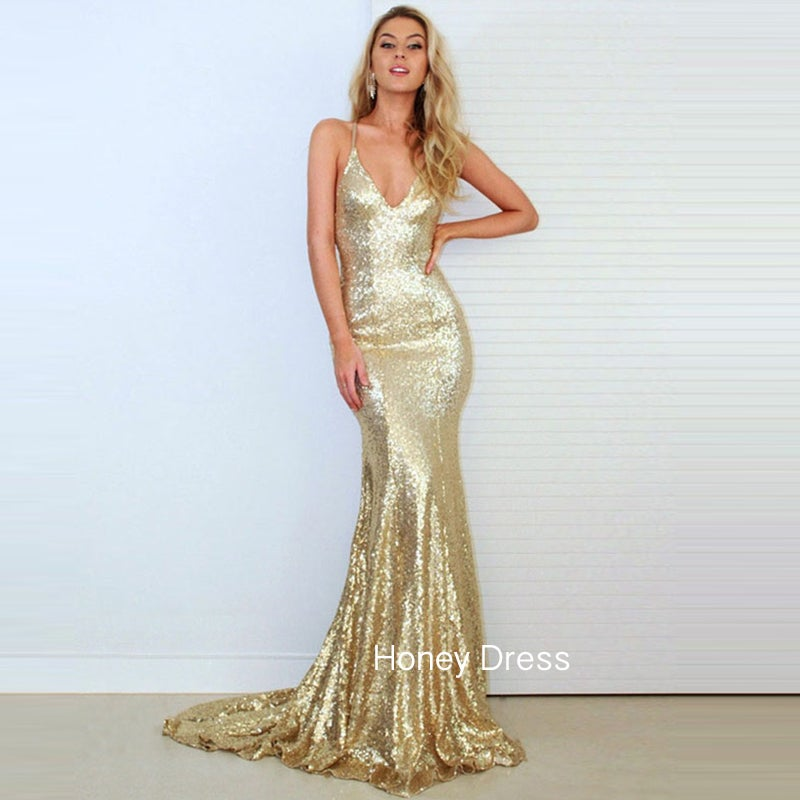 Gold Sparkle Prom Dresses