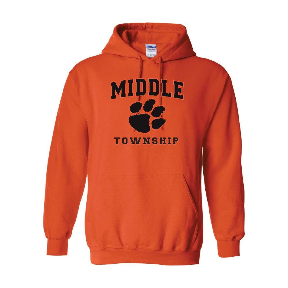 Image of Hooded Sweatshirt w/ Athletic Logo (Orange)