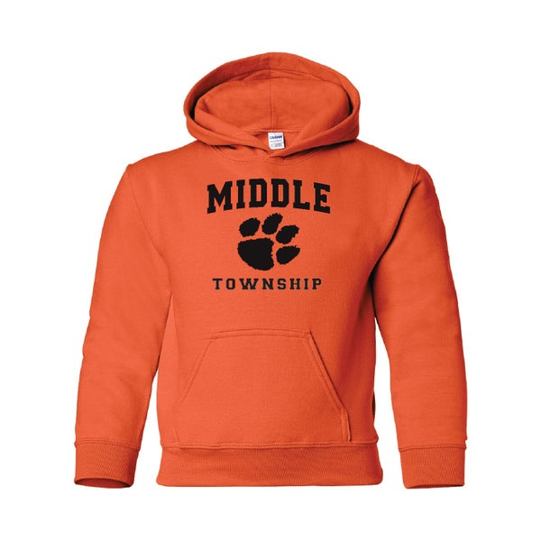 Image of Youth Hooded Sweatshirt w/ Athletic Logo (Orange)