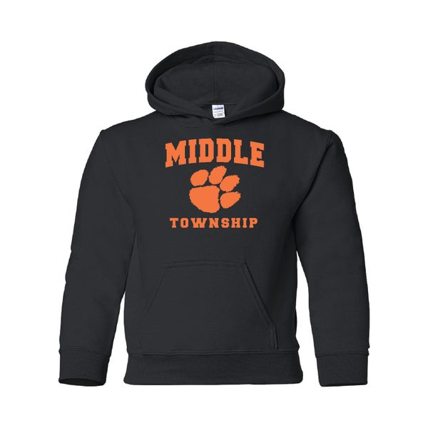 Image of Youth Hooded Sweatshirt w/ Athletic Logo (Black)