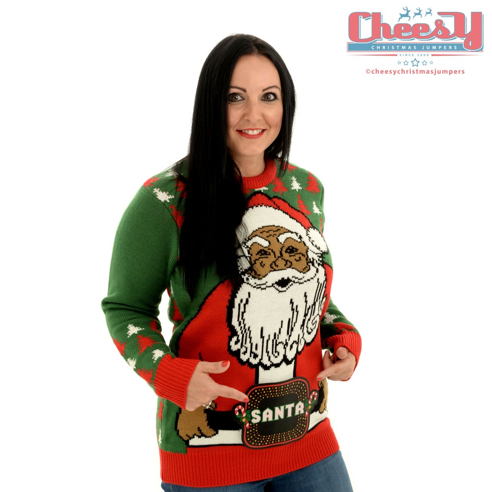 Image of Santa's New Belt Lightup Christmas Jumper - Unisex