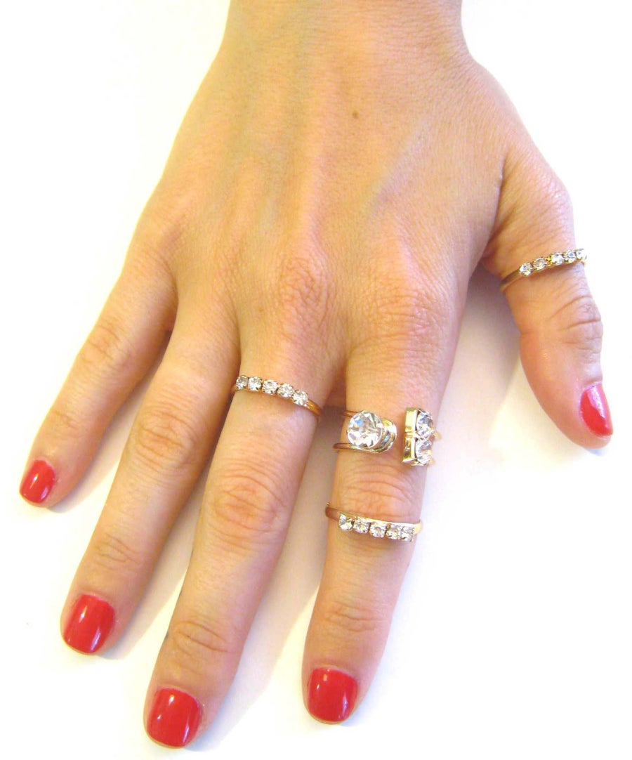 Image of 4 pc Rhinestone Metal Ring Set (More Colors)
