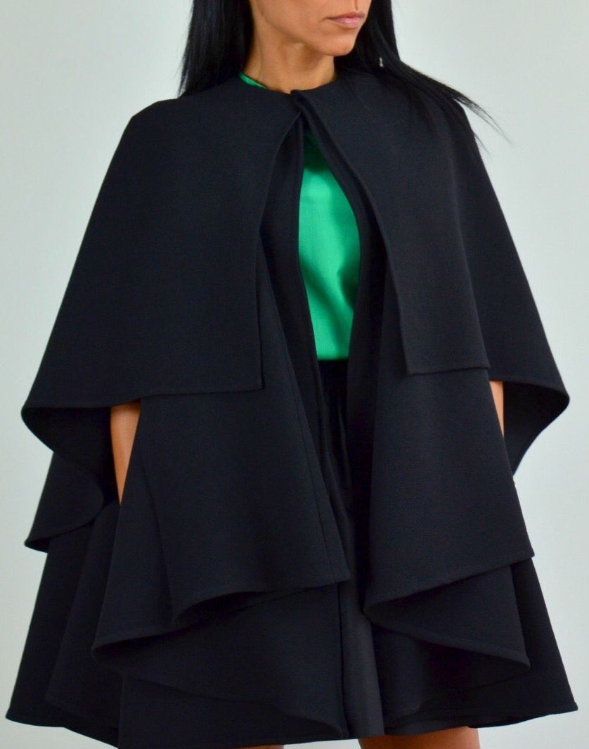 Image of Double Layer Black Swing Capelet