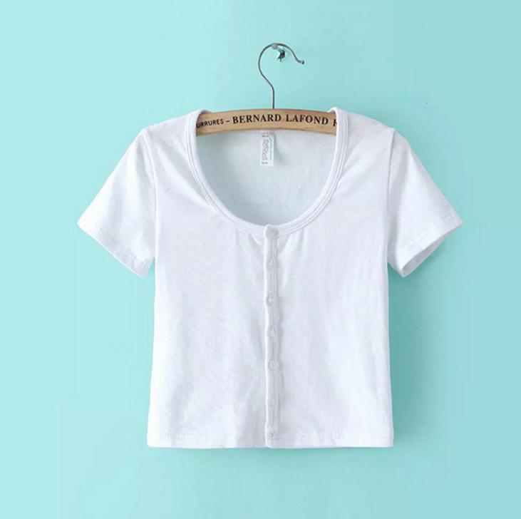 Image of New women Slim short paragraph short-sleeve T-shirt solid color short-sleeved T-shirt vest female