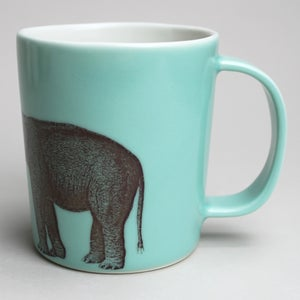 Image of 16oz mug with elephant, </br>aqua