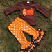 Image of Bella Brown Turkey Ruffle Pant Set, Baby, Toddler, Girl, Thanksgiving, Holiday photos