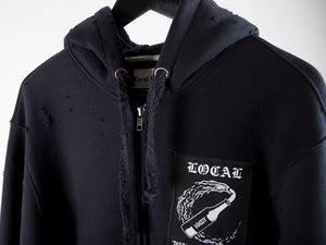 Image of Destroyed Full Zip Hoody Black