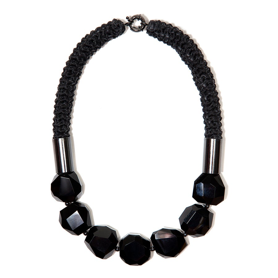 "Image of ""Fracture"" Black Facet Agate Neckpiece"