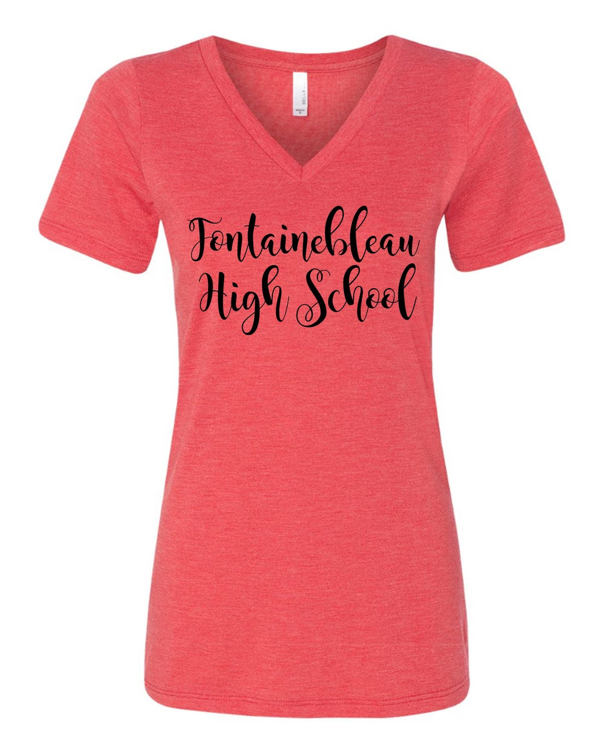 Image of Ladies Triblend V Neck Script Tee