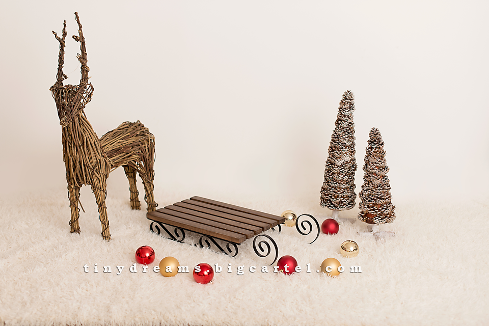 Image of Beautiful Sledge Christmas/Winter Photography Prop RED, WHITE, DARK WOOD