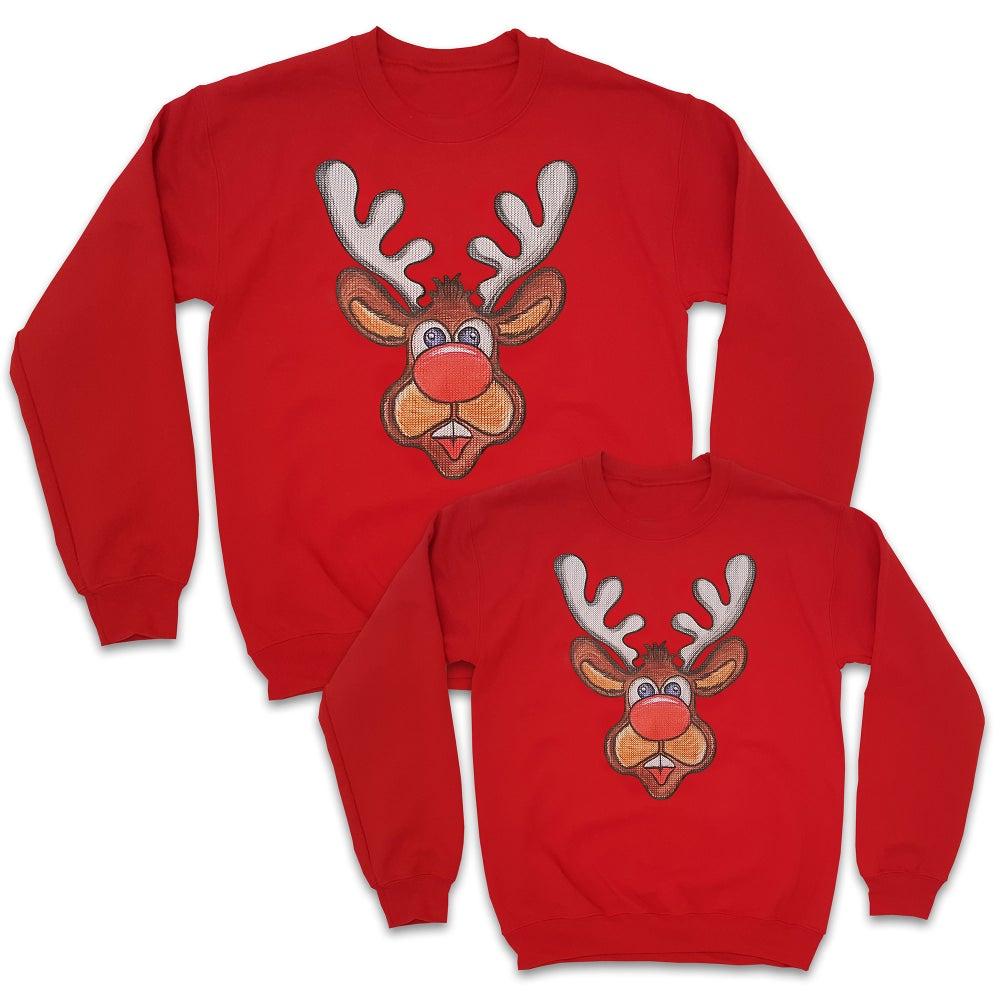 Image of Matching Reindeer Sweatshirts - 2 Pack (1 Adult & 1 Kids)