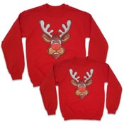 Image of Matching Reindeer Sweatshirts - 2 Pack (1 Adult & 1 Kids)