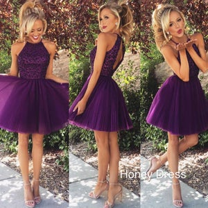 Image of Grape Purple Tulle Halter Homecoming Dress,Beaded Bodice Cocktail Dress With Keyhole Back
