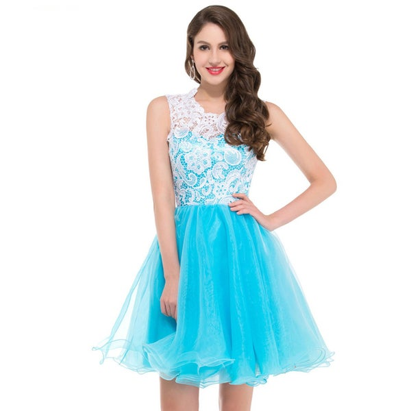 Image of Elegant Light Blue Lace Homecoming Dress, Tulle A-line Homecoming Dress