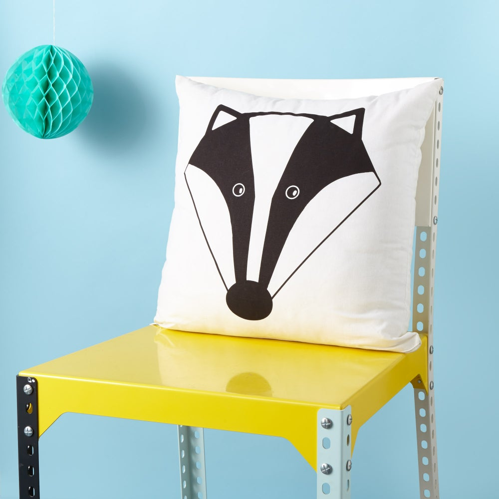 Image of Mr Badger Cushion - Screen Printed