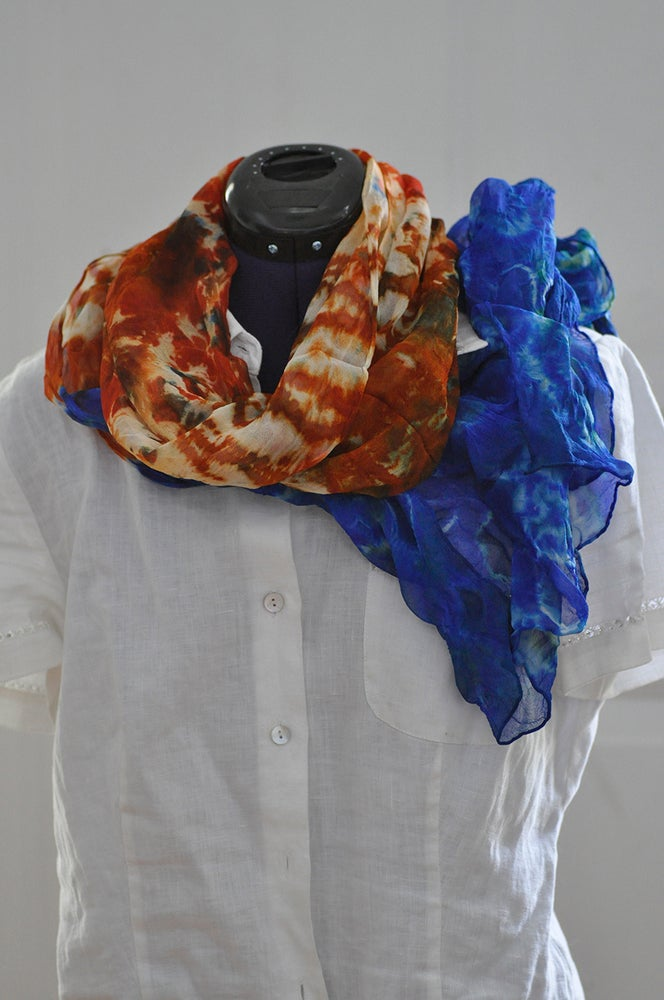 Image of Orange and Blue Shibori Scarf