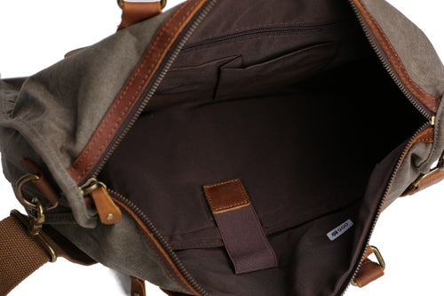 Image of Waxed Canvas Leather Messenger Bag, Laptop Briefcase, Shoulder Bag YD2167
