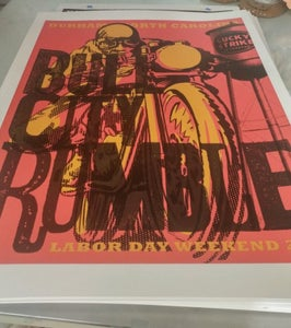 "Image of 2016 Large Bull City Rumble Poster 18"" x 24"" Hand-Screened & Signed"