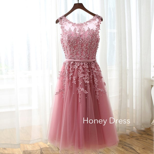 Image of Gorgeous Pink Chiffon Cocktail Dress, Lace Applique Scoop Neck Homecoming Dress