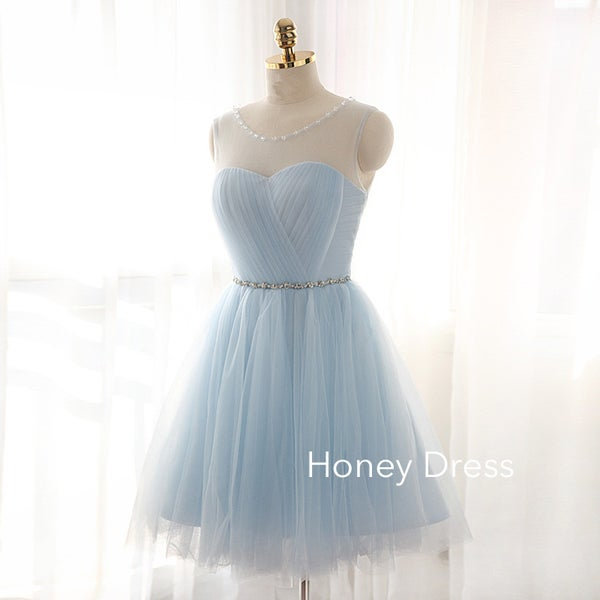 Image of Elegant Light Blue Illusion Cocktail Dress, Sweetheart Beading Belt Cocktail Dress