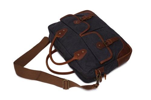 Image of Waxed Canvas Leather Messenger Bag, Laptop Briefcase, Shoulder Bag YD2169