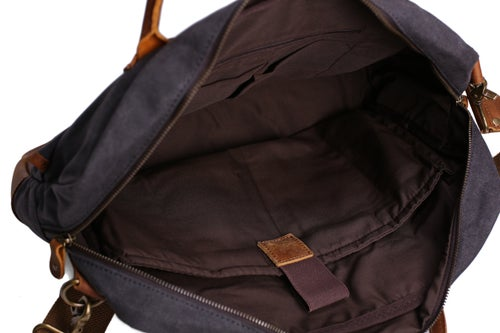 Image of Waxed Canvas Leather Messenger Bag, Laptop Briefcase, Shoulder Bag YD2169