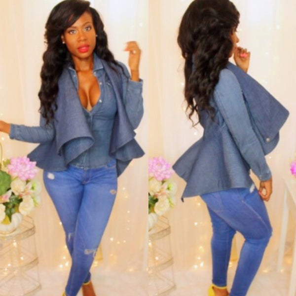 Image of Denim peplum vest