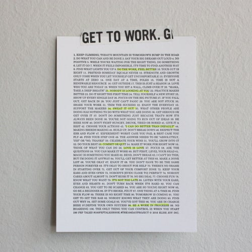 Image of 100 PEP TALKS letterpress print