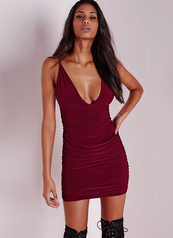 Image of Sexy tight sling dew shoulder bag hip deep V dress skirt
