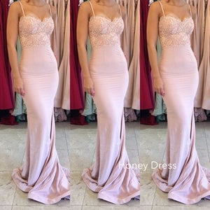 Image of Nude Jersey Lace Applique Prom Dress, Strapless Mermaid Spaghetti Strap Bridesmaid Dress