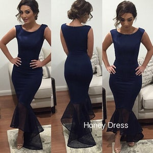 Image of Elegant Navy Blue Jersey Prom Dress, Scoop Neck Mermaid Dress WIth Tulle Train