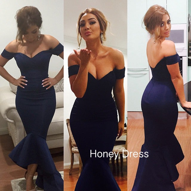 Image of Dark Blue Off The Shoulder Prom Gown, Strapless Mermaid Maxi Bridesmaid Dress With Trumpet Skirt