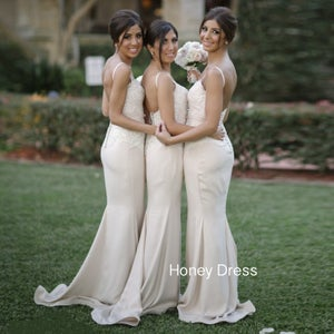 Image of Ivory Satin Sweetheart Sheath Bridesmaid Gown With Lace Appliques