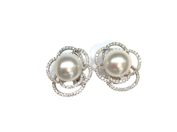 Image of Diamond And Pearl Earrings