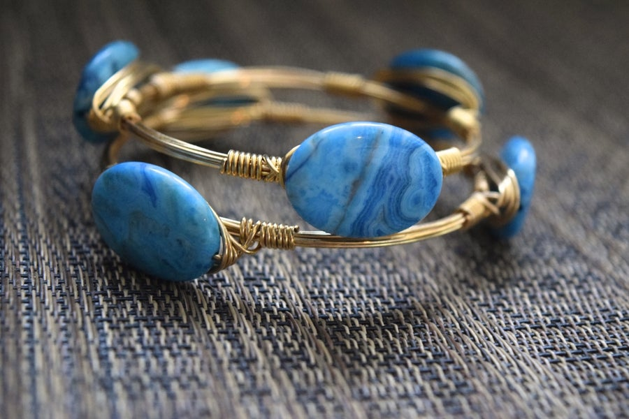 Image of Blue Crazy Lace Agate Bangle