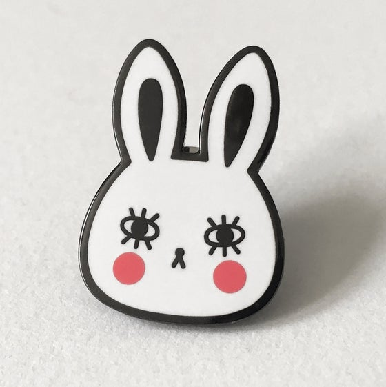 Image of White Bunny Hard Enamel Pin