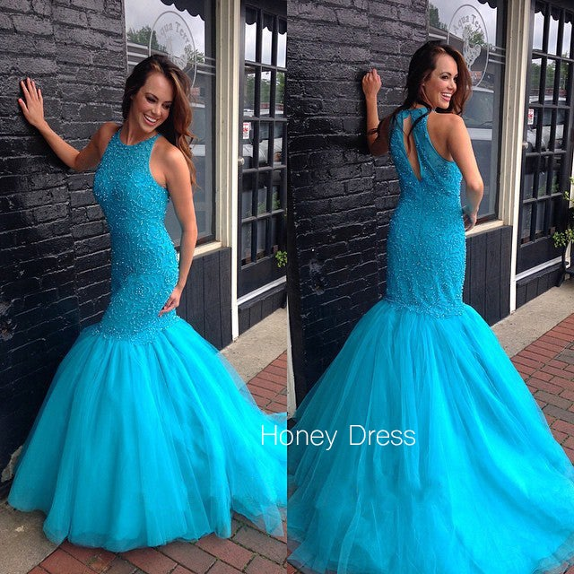 Image of Blue Tulle Scoop Neck Prom Dress,  Pink Mermaid Ball Gown Prom Dress With Beading